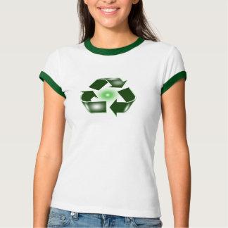 Green Recycle Logo Ringer T-Shirt