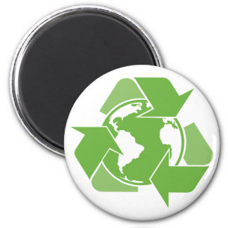 Green Recycle Recycling 2 Inch Round Magnet