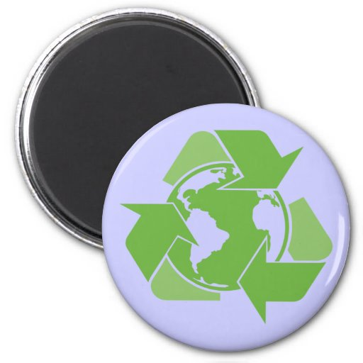 Green Recycle Recycling dark 2 Inch Round Magnet