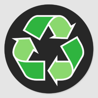 Green recycle recycling symbol on black background classic round sticker
