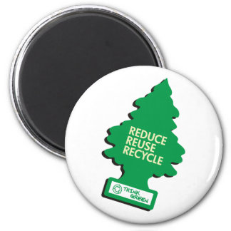 Green Recycle Reduce Reuse 2 Inch Round Magnet