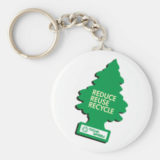 Green Recycle Reduce Reuse Basic Round Button Keychain