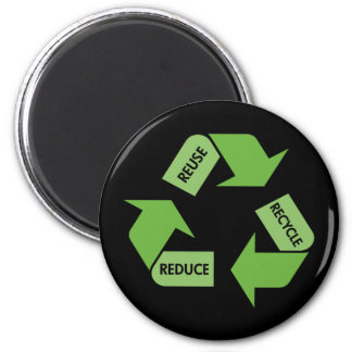 Green Recycle Reuse Reduce 2 Inch Round Magnet
