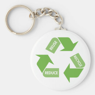 Green Recycle Reuse Reduce Basic Round Button Keychain