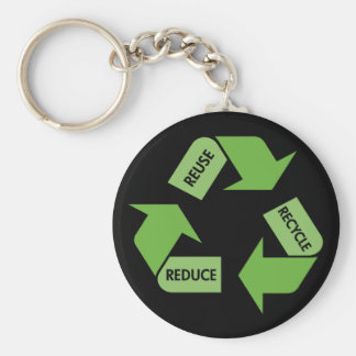 Green Recycle Reuse Reduce Keychain