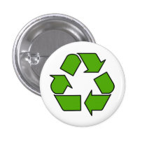 Green Recycle symbol button pin for earth day