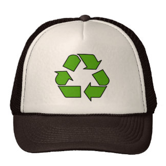 Green Recycle symbol hat for earth day