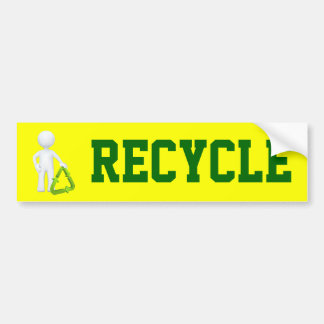 Green Recycle Symbol & Man Bumper Sticker