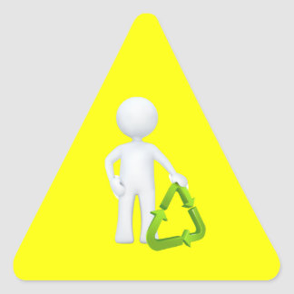 Green Recycle Symbol & Man Triangle Sticker
