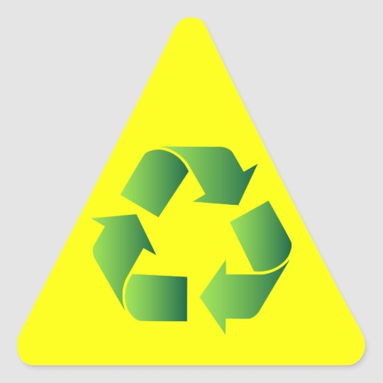 Green Recycle Symbol Triangle Sticker