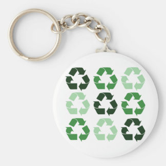 Green Recycle Symbols Basic Round Button Keychain