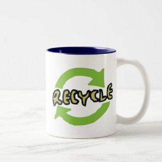 Green Recycle Two-Tone Coffee Mug