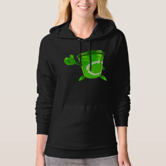 Green Recycling Bin Womens Hoodie
