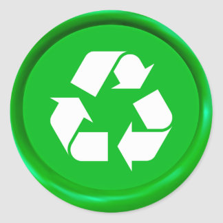Green Recycling Sign Wax Seal Classic Round Sticker