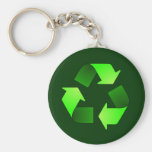 Green Recycling Symbol Keychain