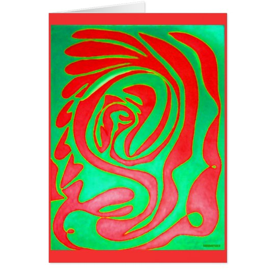 Green Red Abstract Painting of a Relationships Card