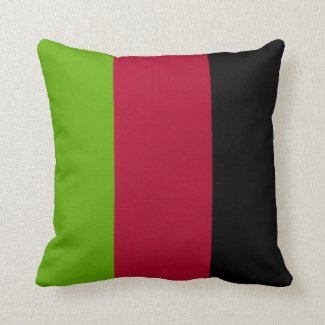 Green, Red and Black Stripes Throw Pillow