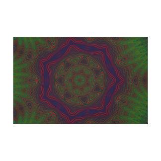 Green, Red and Blue Kaleidoscope Mandala Canvas Prints