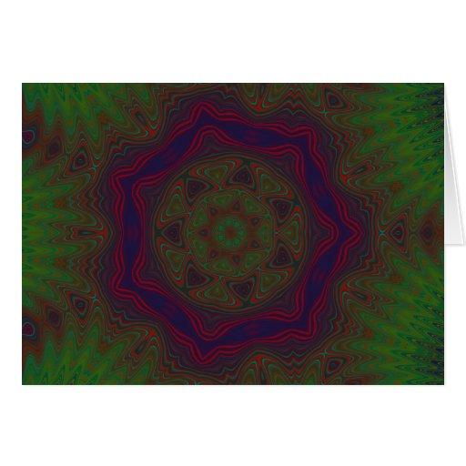 Green, Red and Blue Kaleidoscope Mandala Card