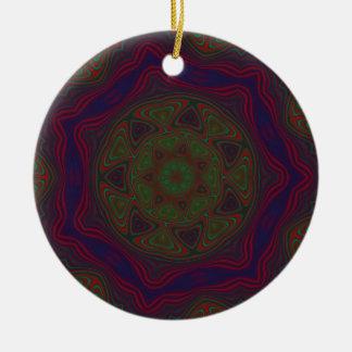 Green, Red and Blue Kaleidoscope Mandala Ceramic Ornament