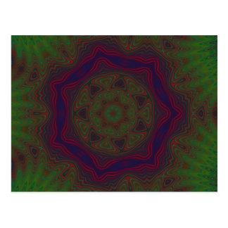 Green, Red and Blue Kaleidoscope Mandala Postcard