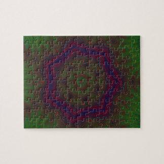 Green, Red and Blue Kaleidoscope Mandala Jigsaw Puzzle
