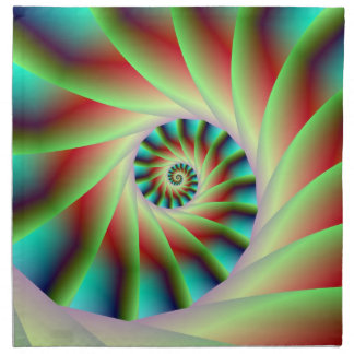Green Red and Blue Spiral Steps Cloth Napkins