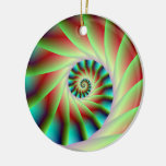 Green Red and Blue Spiral Steps Christmas Tree Ornament
