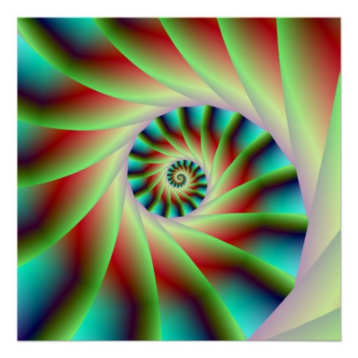 Green Red and Blue Spiral Steps Poster