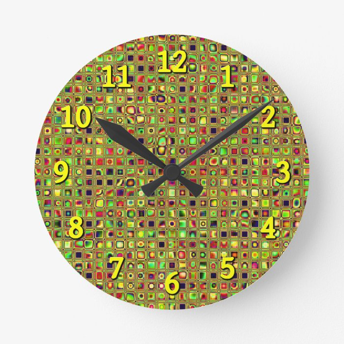 Green, Red And Gold Mosaic Textured Tiles Pattern Round Clock