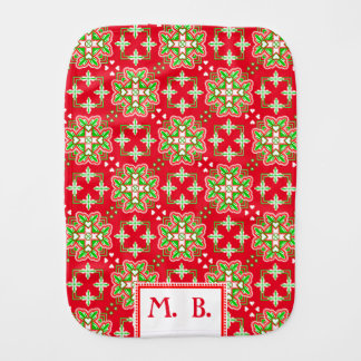 Green Red and Initials Baby Burp Cloth