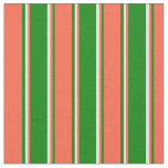 [ Thumbnail: Green, Red, and Light Yellow Pattern of Stripes Fabric ]
