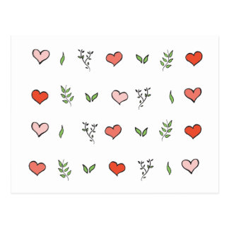 Green Red and Pink Botanical Heart Cards