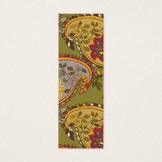 Green, red and purple paisley mini business card