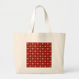 Green, red and white snowflakes pattern large tote bag