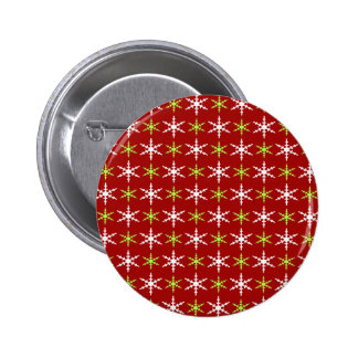 Green, red and white snowflakes pattern pinback button