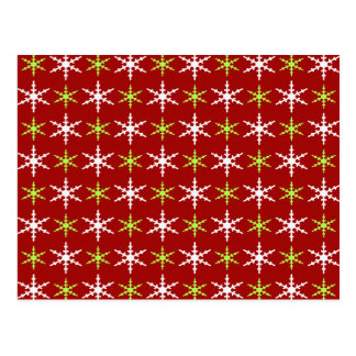 Green, red and white snowflakes pattern postcard