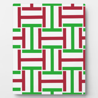 Green,Red and White T Weave Plaque