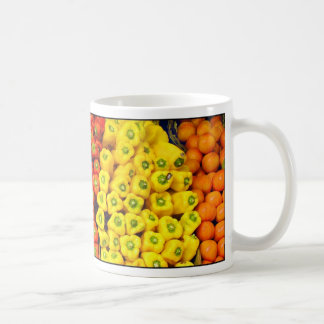 Green, red and yellow peppers mug