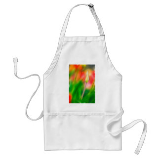 Green Red and Yellow Tulip Sketch Adult Apron