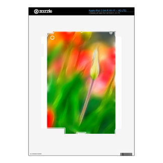 Green Red and Yellow Tulip Sketch iPad 3 Decal