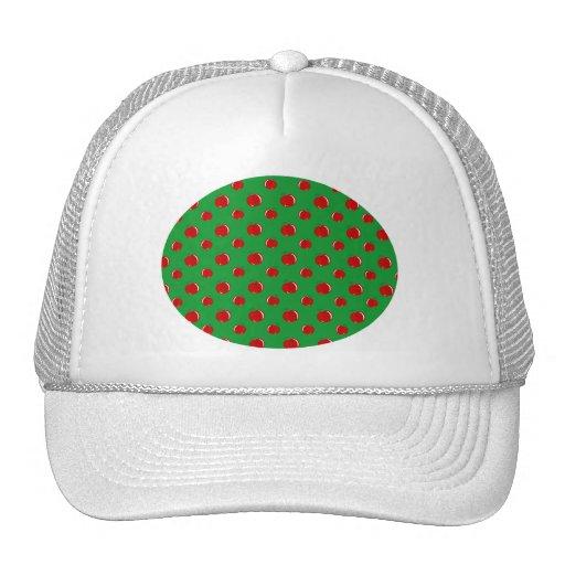 Green red apple pattern trucker hat