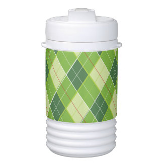 Green red argyle pattern golf cold container cooler