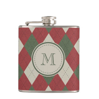 Green & Red Argyle Plaid Pattern with Monogram Flasks