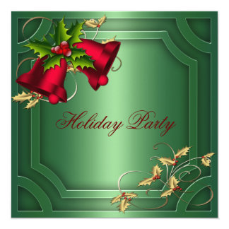 Green Red Bells Corporate Holiday Party 5.25x5.25 Square Paper Invitation Card