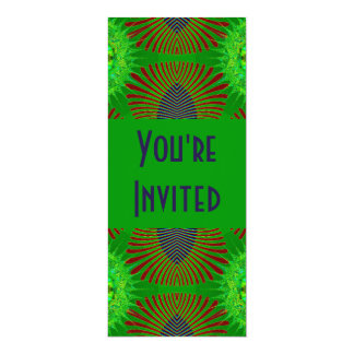 green red blue feathers card