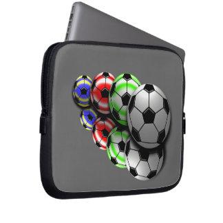 Green Red Blue Soccer Balls Laptop/Electronics Bag Laptop Sleeve