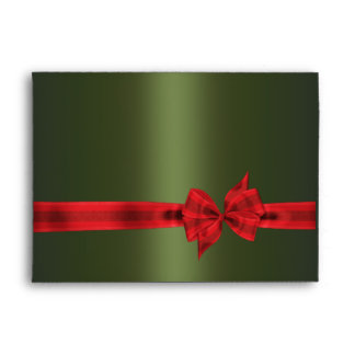 Green & Red Bow Christmas Envelopes