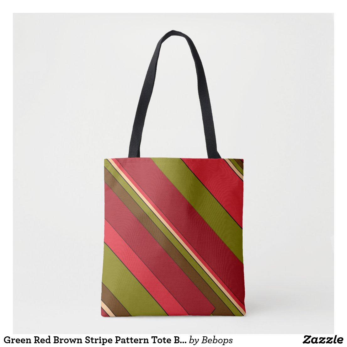Green Red Brown Stripe Pattern Tote Bag