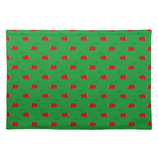 Green red cherry pattern cloth placemat